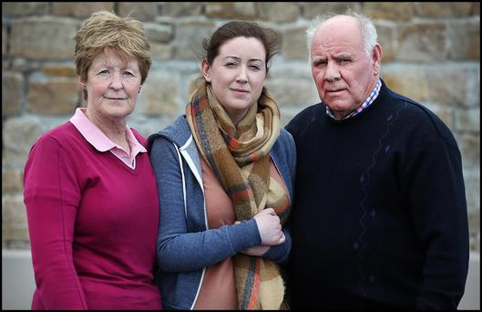 Orla Smith, Sister of missing Rescue 116 crew member Ciaran Smith pictured alongside her Mother Teresa and Father Michael as they appeal to local fishermen to assist in the search for her missing brother and Paul Ormsby. Pic Steve Humphreys 3rd April 2017