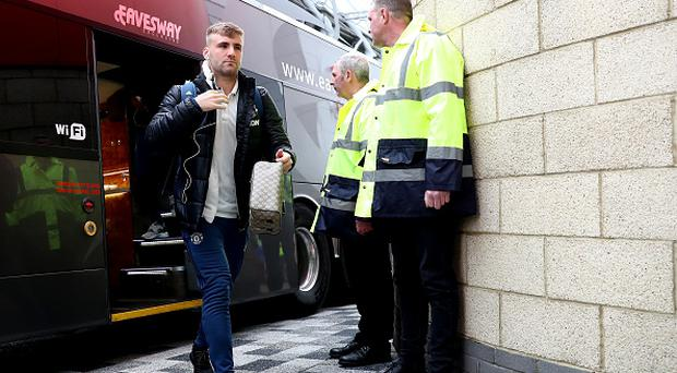 Luke Shaw of Manchester United arrives prior to the Premier League match between Middlesbrough and Manchester United at Riverside Stadium. (Photo by Matthew Lewis/Getty Images)