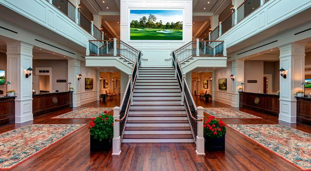 The reception area of the Press Centre in Augusta. Photo: MillerBrown/Augusta National