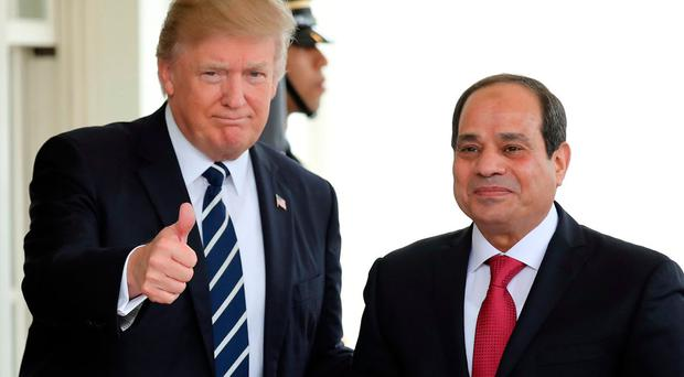 US President Donald Trump welcomes Egyptian President Abdel Fattah al-Sisi to the White House in Washington. Photo: Reuters
