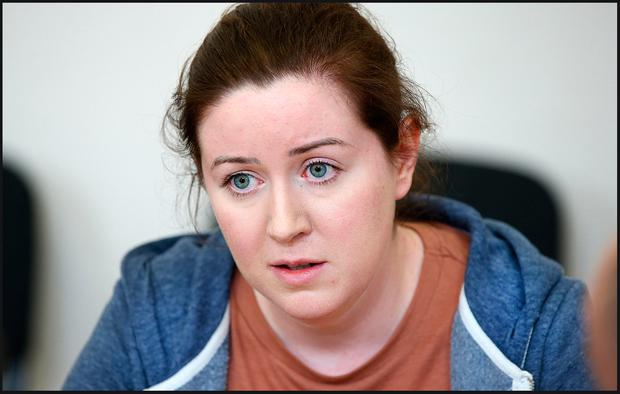 Orla Smith, sister of missing crew member Ciarán Smith, speaking to the media yesterday. Photo: Steve Humphreys
