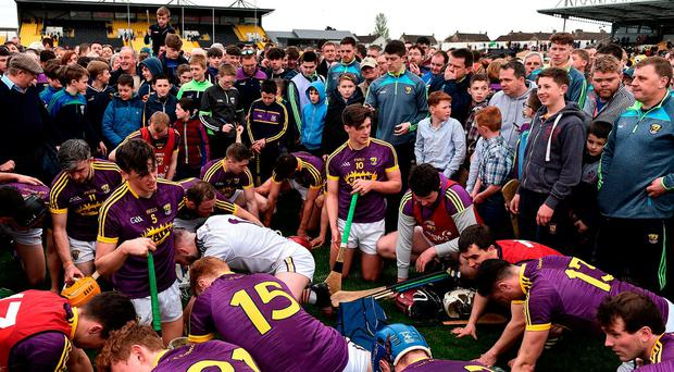 Wexford players warm down in front of supporters after victory over Kilkenny in Nowlan Park. Photo: Brendan Moran/Sportsfile