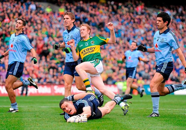 Cooper scores another early goal against the Dubs in the 2011 final, but the Kingdom are caught cold by their great rivals. Photo: Stephen McCarthy / Sportsfile