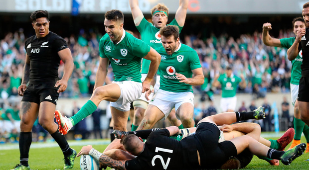 Conor Murray celebrates as Robbie Henshaw scores a try against New Zealand in Chicago last autumn. New research is showing that gut health plays a big role in athletic performance. Photo: ©INPHO/Billy Stickland