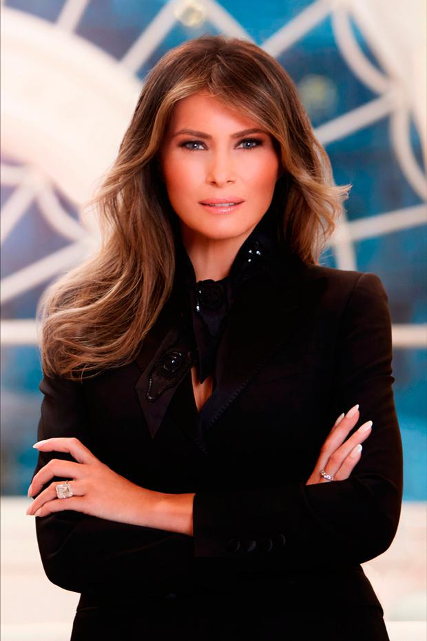 In this handout image provided by the White House, First Lady Melania Trump poses for her official portrait in her residence at the White House April 2017 in Washington, DC. (Photo by The White House via Getty Images)
