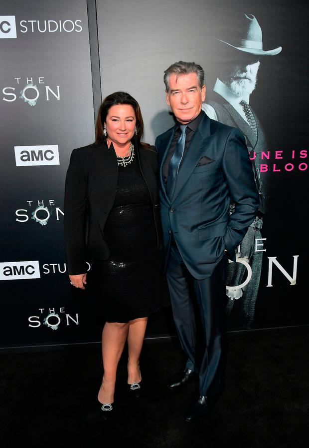 Actor Pierce Brosnan and Keely Shaye Brosnan attend AMC's