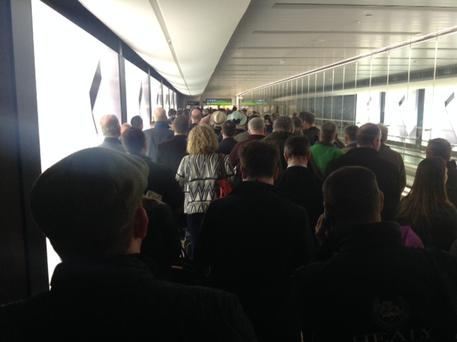 Large crowds waiting to reach Passport Control in Dublin Airport's T1 recently