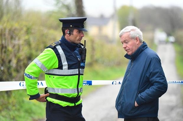 Fr Brendan Walsh arrives at the scene in Ballyduff. Photo By: Domnick Walsh