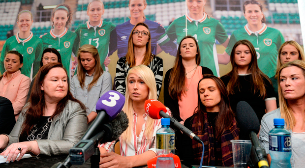 Stephanie Roche, centre, of the Republic of Ireland Women's National Team speaks alongside team-mates, seated from left, captain Emma Byrne, Aine O'Gorman, and Ethel Buckley, left, SIPTU Services Division, during a women's national team press conference at Liberty Hall in Dublin. Photo by Cody Glenn/Sportsfile
