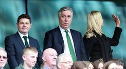 John Delaney (centre) Football Association of Ireland Chief Executive attends the match (Photo by AMA/Corbis via Getty Images)