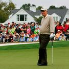 Jack Nicklaus waits on the ninth green during the 2005 Masters – he won the 1986 renewal at the age of 46. Photo: GETTY