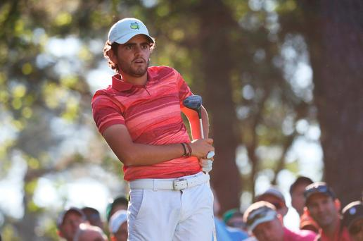 Amateur Toto Gana of Chile plays his shot from the fourth tee during a practice round prior to the start of the 2017 Masters. Photo: Getty Images