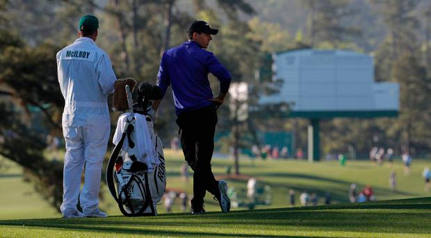 Rory McIlroy waits during Tuesday's practice round for the 2017 Masters at Augusta National Golf Course, Georgia. Photo: REUTERS/Brian Snyder