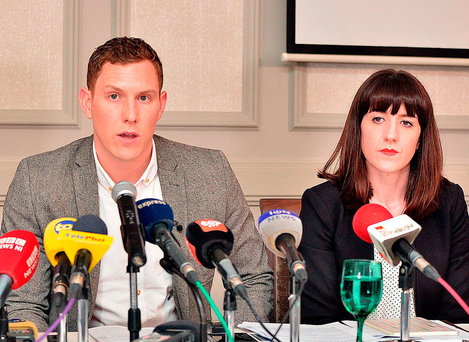 John McAreavey, with his sister Claire, talks in Mauritius about the murder of wife Michaela Photo: PA