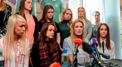 Republic of Ireland Women's National Team captain Emma Byrne speaks alongside, seated from left, Stephanie Roche, Aine O'Gorman, Karen Duggan, and other team-mates during a women's national team press conference at Liberty Hall in Dublin. Photo: Cody Glenn/Sportsfile