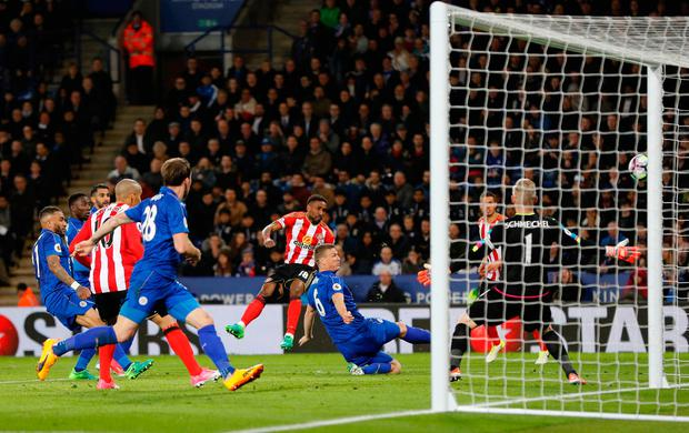 A shot from Sunderland's Jermain Defoe crashes into the side net. Photo: REUTERS