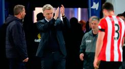 Sunderland manager David Moyes applauds the fans after another defeat at the King Power Stadium. Photo: PA