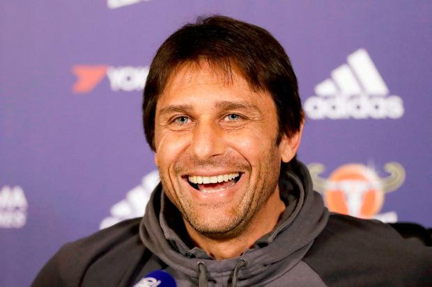 Antonio Conte in a relaxed mood during yesterday's press conference. Photo: AP