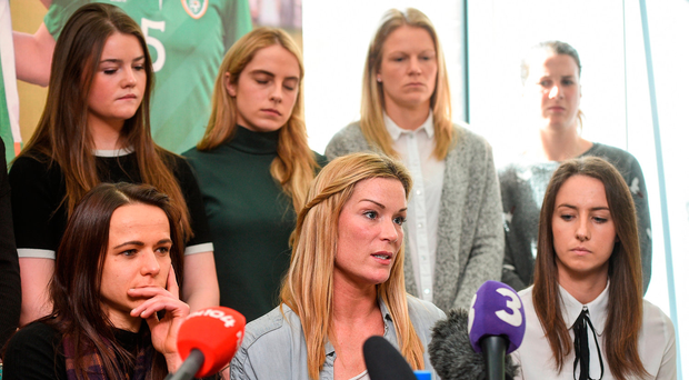 Republic of Ireland Women's National Team captain Emma Byrne (centre) speaks alongside Aine O'Gorman (left), Karen Duggan (right) and other team-mates during a news conference at Liberty Hall in Dublin. Photo: Cody Glenn