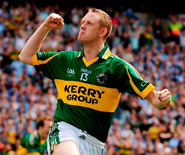 Colm Cooper celebrates scoring against Dublin in 2009. Photo: Stephen McCarthy / Sportsfile