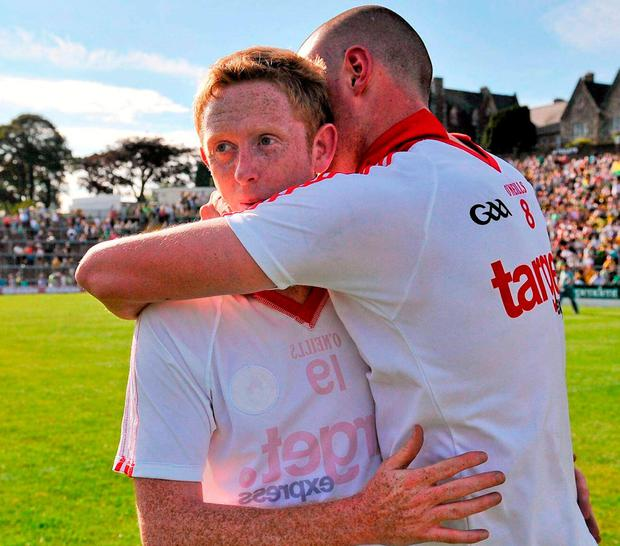Kerry's Colm Cooper and Kieran Donaghy celebrate after victory over Tyrone in 2012. Photo: Diarmuid Greene / Sportsfile
