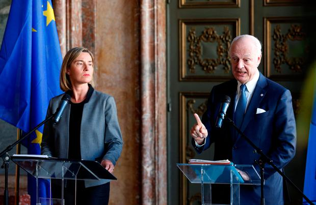 European Union foreign policy chief Federica Mogherini and UN Special Envoy for Syria Staffan de Mistura brief the media during an international conference on the future of Syria and the region, in Brussels, Belgium REUTERS/Francois Lenoir