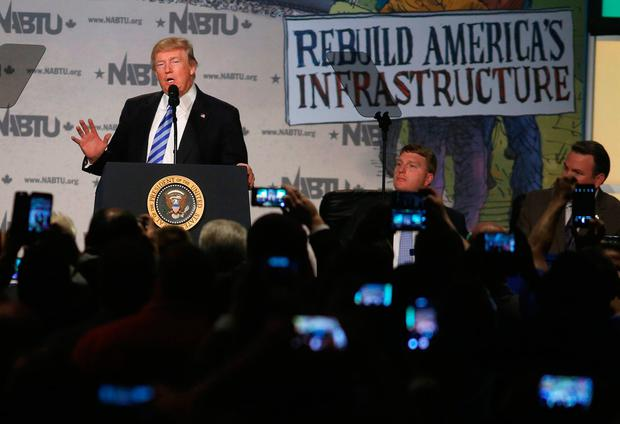 U.S. President Donald Trump speaks at the 2017 North America's Building Trades Unions National Legislative Conference in Washington, U.S. REUTERS/Joshua Roberts