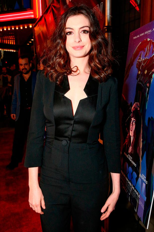 Actress Anne Hathaway arrives at the premiere of Neon's