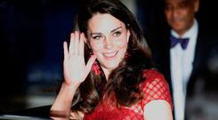 Catherine, Duchess of Cambridge leaves the Drury Lane Theatre after watching the opening night of the musical 42nd Street, at the Drury Lane Theatre in London, Britain April 4, 2017 REUTERS/Peter Nicholls