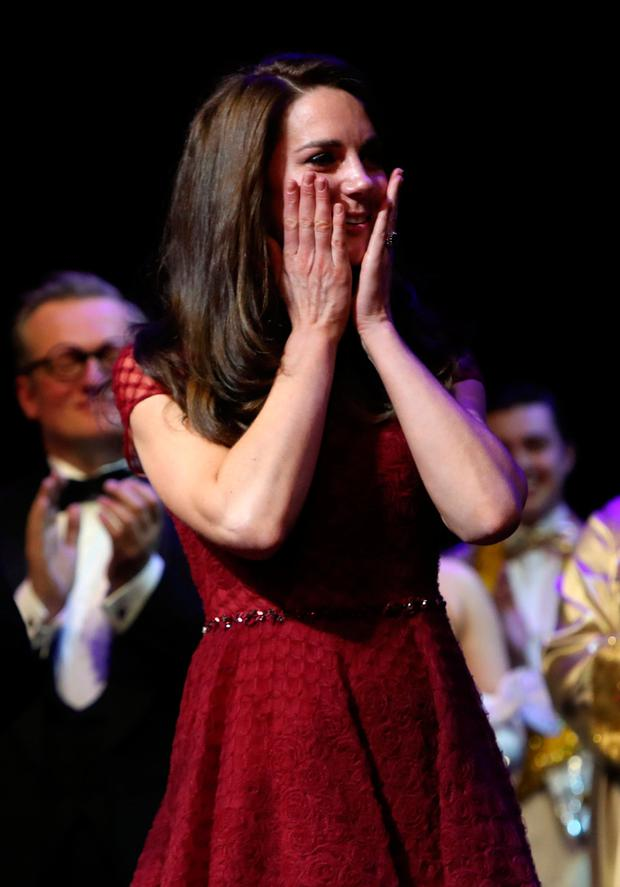 Catherine, Britain's Duchess of Cambridge on stage during the curtain call on the opening night of the musical 42nd Street, in aid of East Anglia's Children's Hospice at the Theatre Royal, Drury Lane, London, Britain April 4, 2017. REUTERS/Steve Parsons/Pool