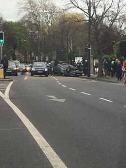A taxi overturned on Morehampton Road this evening (Image: Twitter Colin Harmon)