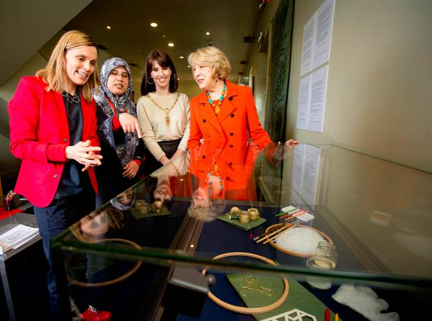 Connecting: From left, artist Helen Barry, artist, Punctuation, Nor Nasib, Deputy Lord Mayor of Dublin Rebecca Moynihan and Sabina Higgins at the exhibition. Photo Chris Bellew / Fennell Photography