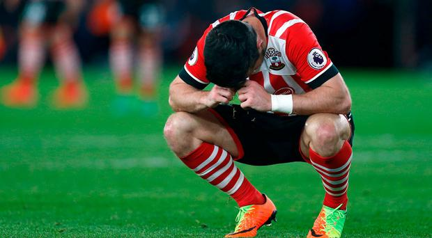 Southampton's Shane Long looks dejected after missing a chance to score