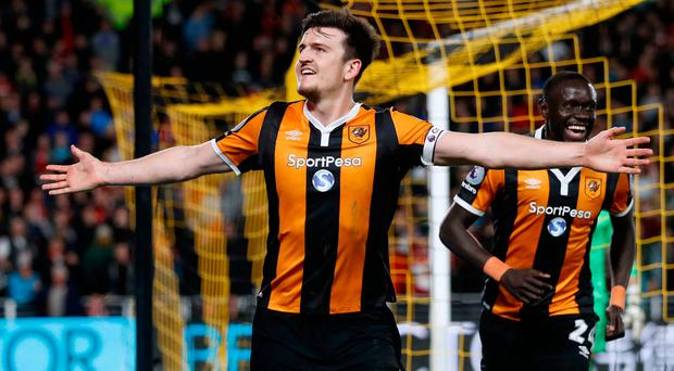 Hull City's Harry Maguire celebrates scoring their fourth goal