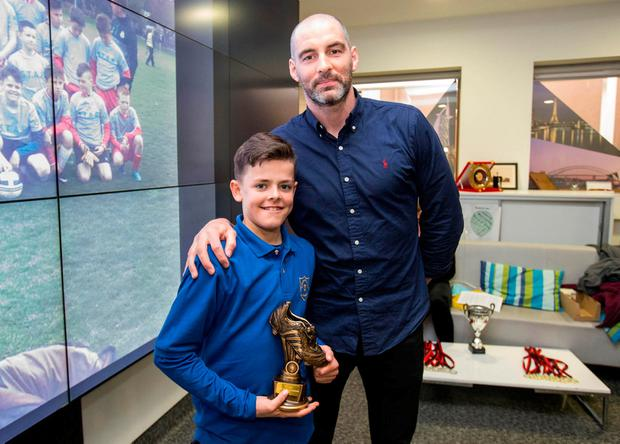 Scott Brown, player of the tournament, with Richie Sadlier at the launch of the STAR (Sporting Talent and Academic Rewards) programme in conjunction with TAP (Trinity Access Programme), Shamrock Rovers and Trinity Sport
