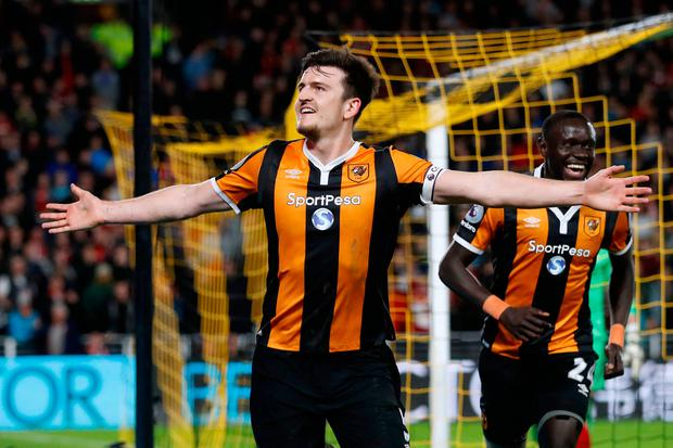 Harry Maguire celebrates scoring Hull City's fourth goal. Photo: REUTERS