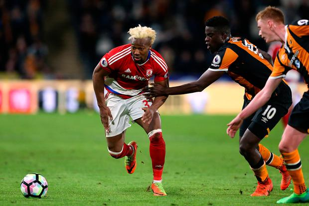 Middlesbrough's Adama Traore chases for the ball up against Hull City's Alfred N'Diaye. Photo: REUTERS