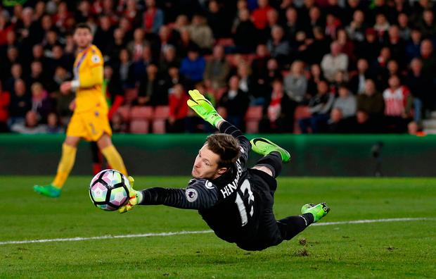 Crystal Palace's Wayne Hennessey makes a save. Photo: REUTERS
