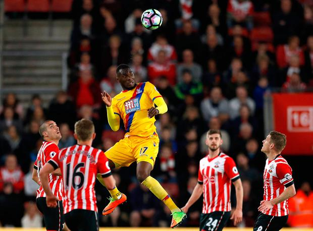 Crystal Palace's Christian Benteke wins a header. Photo: REUTERS