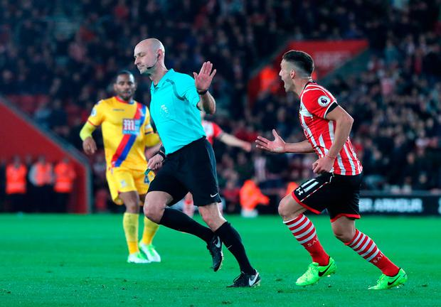 Southampton's Dusan Tadic appeals to match referee Roger East after Shane Long goes down in the box. Photo: PA