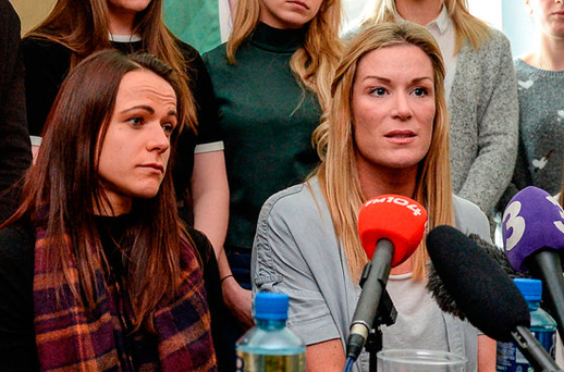 Aine O'Gorman, left, and team captain Emma Byrne during a press conference in Dublin. Photo: Cody Glenn/Sportsfile