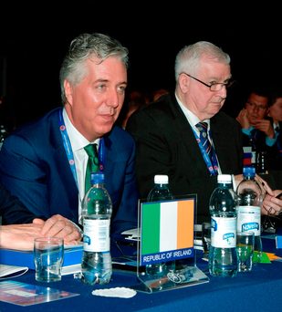 John Delaney, left, during the 41st Uefa Congress in Helsinki Photo: Sportsfile