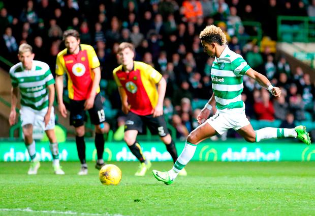 Celtic's Scott Sinclair misses a penalty against Partick Thistle. Photo: PA