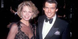 Actor Pierce Brosnan and wife Cassandra Harris attend the 42nd Annual Golden Globe Awards on January 26, 1985 at the Beverly Hilton Hotel in Beverly Hills, California. (Photo by Ron Galella, Ltd./WireImage)