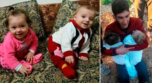 Twins Ahmad and Aya pictured (left) and in the arms of their father before they are buried in Idlib. Picture Alaa Al Youssef
