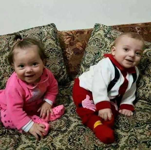 Aya (left) and Ahmad Yussef at their home in Idlib before they died in a Sarin gas attack Picture: Alaa Al-Yousseff