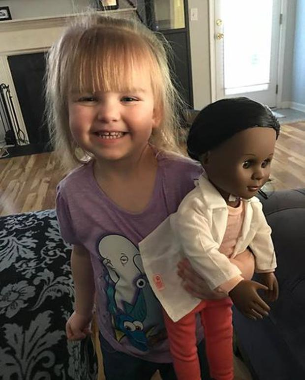 Sophia Benner and the doll she picked out as a reward for being fully potty trained CREDIT: BRANDI BENNER / FACEBOOK