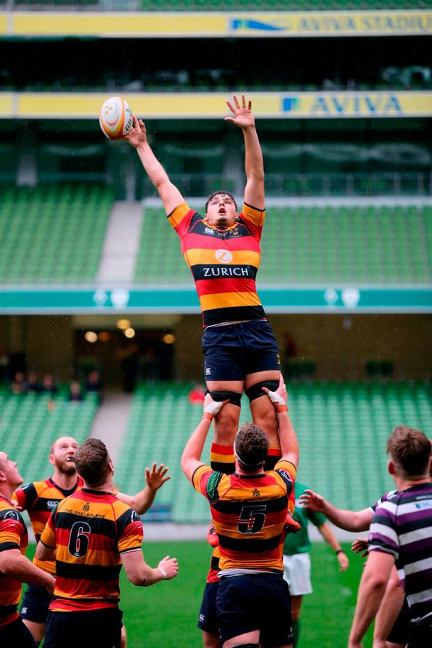 Max Deegan vies for possession in the lineout against Terenure earlier this season