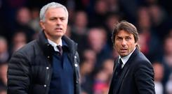 Jose Mourinho and Antonio Conte are miles apart in terms of how they deal with players. Photo: Chelsea FC via Getty Images