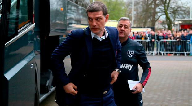 West Ham United manager Slaven Bilic arriving at KCOM Stadium in Hull last weekend. Photo: PA